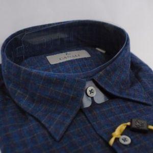 Canali Men's Modern Fit Casual Shirt Light Flannel